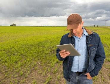 farmer with internet